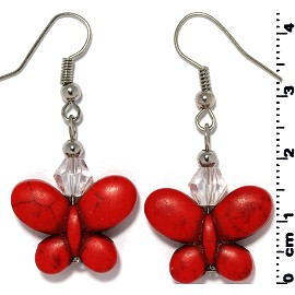 Butterfly Earth Stone Crystal Earrings Silver Red Ger402