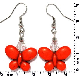 Butterfly Earth Stone Crystal Earrings Silver Orange Ger405