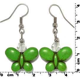 Butterfly Earth Stone Crystal Earrings Silver Green Ger406