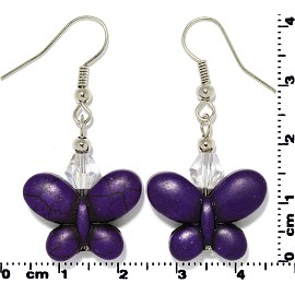 Butterfly Earth Stone Crystal Earrings Silver Dark Purple Ger409