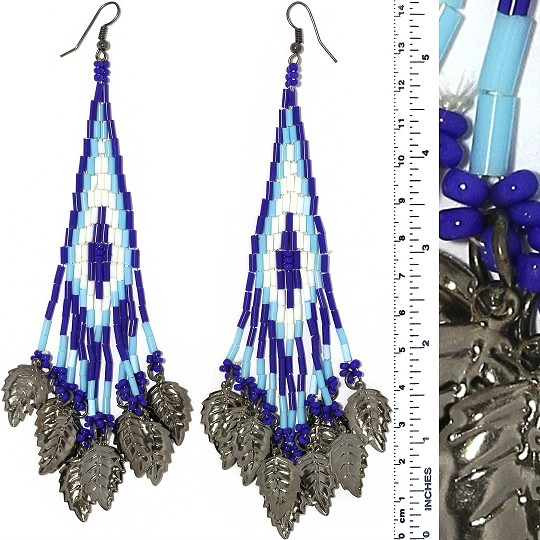 Indian Earrings Leaves Leaf Turquoise Blue Whit Gray Tone Ger411