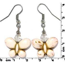 Butterfly Earth Stone Crystal Earrings White Ivory Cream Ger412