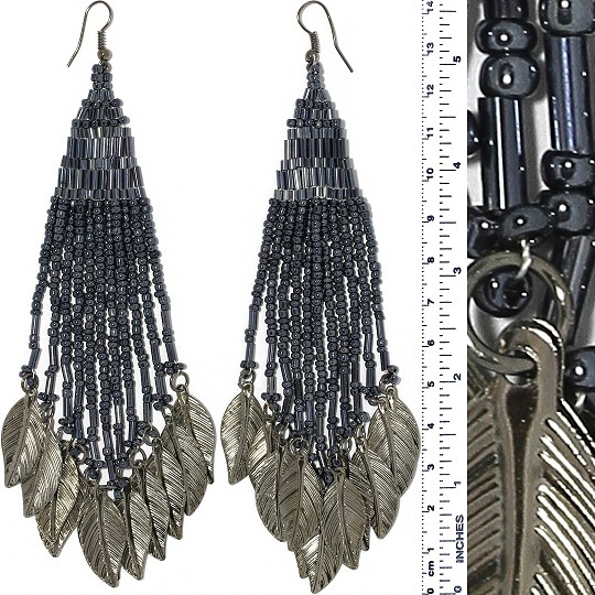 Indian Earrings Feather Bead Tube Graphite Dark Gray Tone Ger420