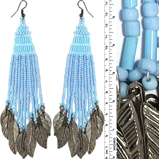 Indian Earrings Feather Bead Tube Turquoise Gray Tone Ger421