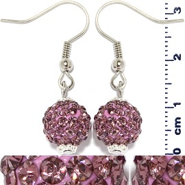Rhinestone Earrings Ball Bead Purple Pink Ger429