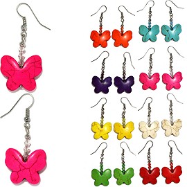 8 Pieces Mix Color Butterfly Smooth Earth Stone Earrings Ger430