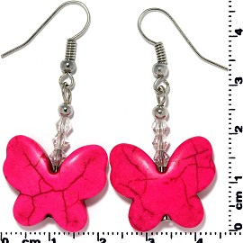 Butterfly Earth Stone Smooth Earrings Silver Magenta Ger431