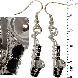 Rhinestone Earrings Saxophone Silver Black Ger435