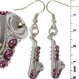 Rhinestone Earrings Saxophone Silver Purple Ger437