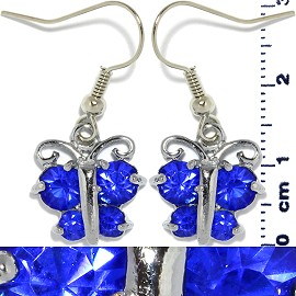 Rhinestone Earrings Butterfly Silver Blue Ger444