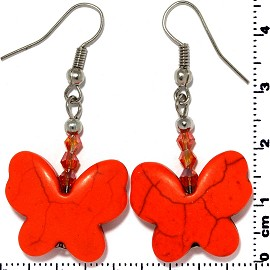 Butterfly Earth Stone Smooth Earrings Silver Orange Ger448