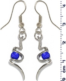 Rhinestone Earrings Silver Blue Ger461