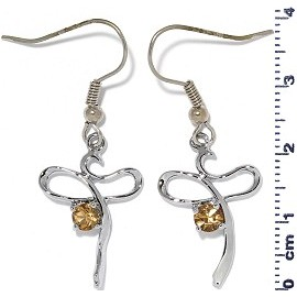 Rhinestone Earrings Silver Tan Ger462