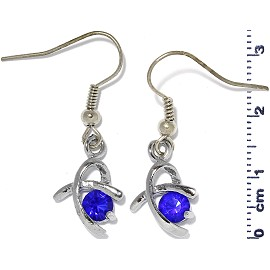 Rhinestone Earrings Silver Blue Ger466