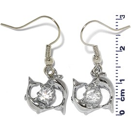 Rhinestone Earrings Dolphin Silver Clear Ger472