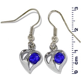Rhinestone Earrings Heart Silver Blue Ger473