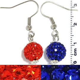 Rhinestone Disco Bead Earrings Blue Orange Ger476