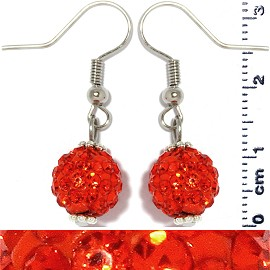 Rhinestone Disco Bead Earrings Orange Ger477