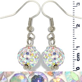 Rhinestone Disco Bead Earrings White Aura Ger478