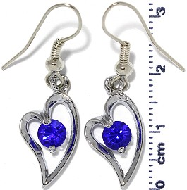 Rhinestone Earrings Heart Silver Blue Ger481