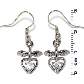 Rhinestone Earrings Heart Wings Silver Clear Ger482
