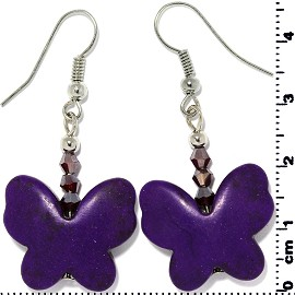 Butterfly Earth Stone Smooth Earrings Silver Dark Purple Ger483