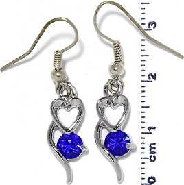 Rhinestone Earrings Heart Silver Blue Ger485