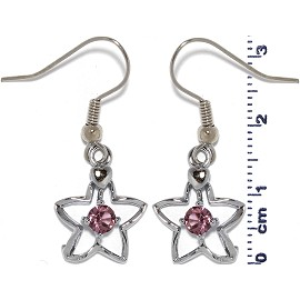 Rhinestone Earrings Star Outline Silver Purple Ger487