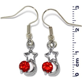 Rhinestone Earrings Star Moon Silver Red Ger488