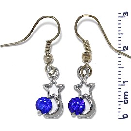 Rhinestone Earrings Star Moon Silver Blue Ger489