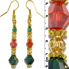 Christmas Color Earrings Crystal Line Gold Green Red Ger502