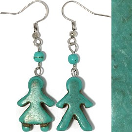Earth Stone Earrings Boy Girl Teal Ger512