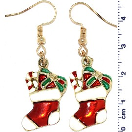 Christmas Stockings Dangle Earrings Red Green Gold White Ger513