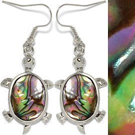 Abalone Earrings Turtle Green Purple Silver Ger517