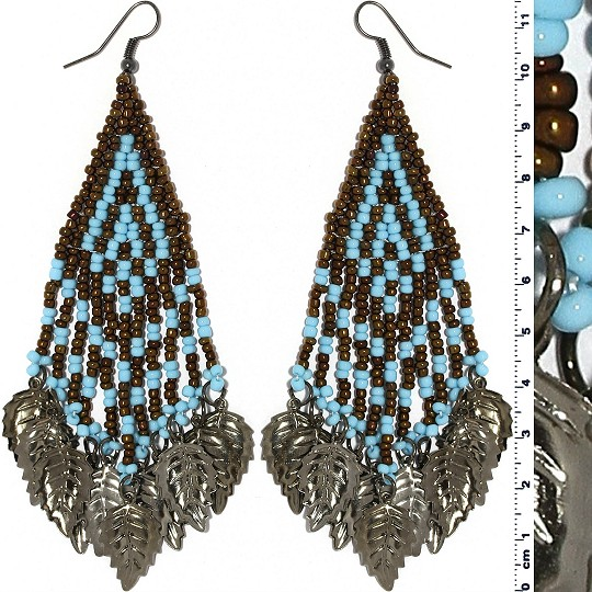 Indian Earrings Leaves Leaf Brown Turquoise Gray Tone Ger530