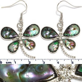 Abalone Earrings Dragonfly Green Ger533