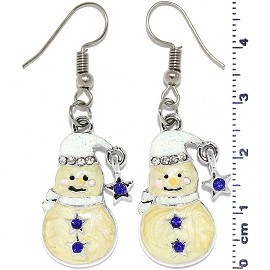 Christmas Snowman Rhinestones Dangle Earrings White Tan Ger534