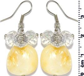 Shell Crystal Earrings Cream White Clear Ger535