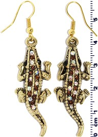 Gator Earrings Rhinestone Aura Brown Gold Ger536