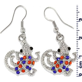 Rhinestone Earrings Gator Dark Silver Orange Blue Ger537