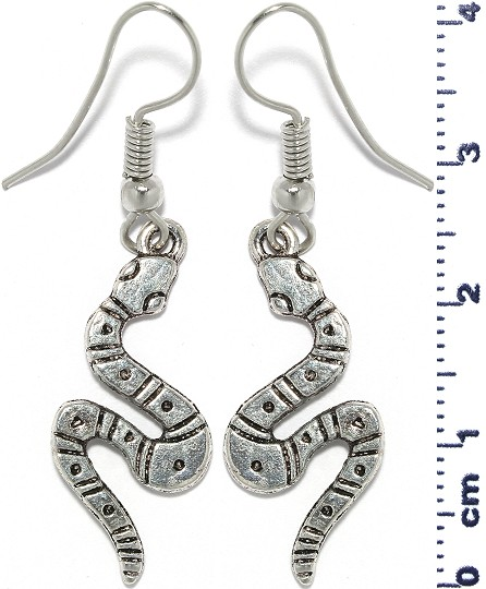 Snake Earrings Metallic Silver Black Tone Ger549