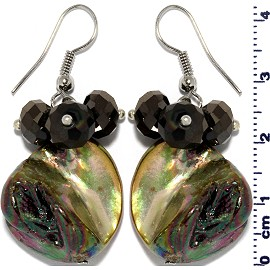 Shell Crystal Earrings Black Cream Ger557