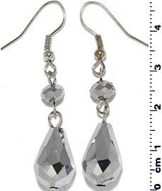 Crystal Earrings Oval Teardrop Drop Down Silver Tone Ger560