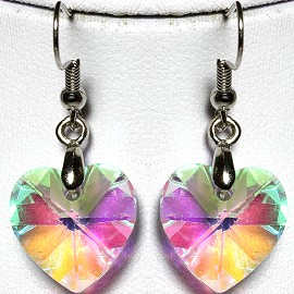 Crystal Earrings Heart Aura Borealis Ger563