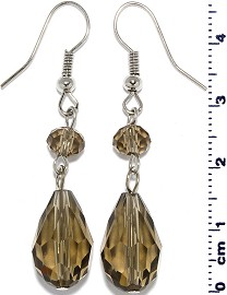 Crystal Earrings Oval Teardrop Drop Down Dark Tan Tone Ger572