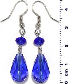 Crystal Earrings Tear Blue Ger580