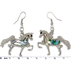 Abalone Earrings Horse Silver Green Ger592