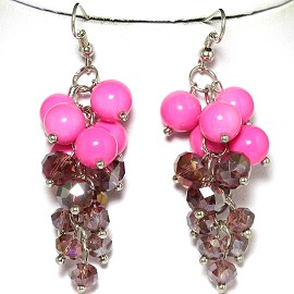 Earring Purple Crystal Silver Pink GER610