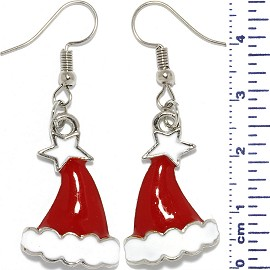 Christmas Earrings Santa Hat Star Cloud Red White Ger613