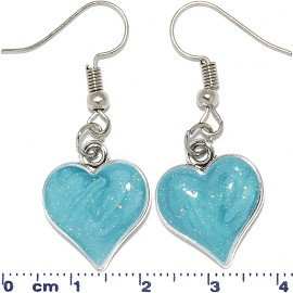 Heart Shaped Earrings Silver Tone Turquoise Ger616